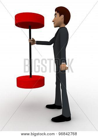 3D Man Easily Lift Big Dumbbell Concept