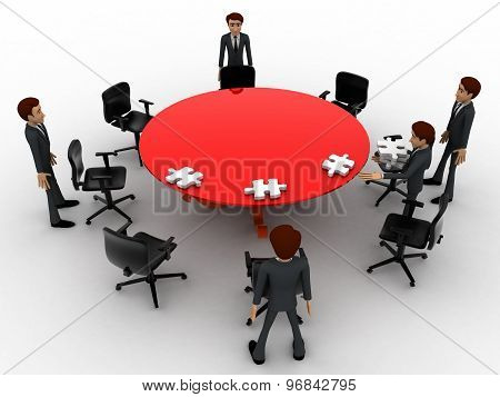 3D Man Sitting In Conference Room For Office Meeting Concept