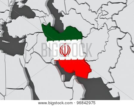 Map of worlds. Iran. 3d