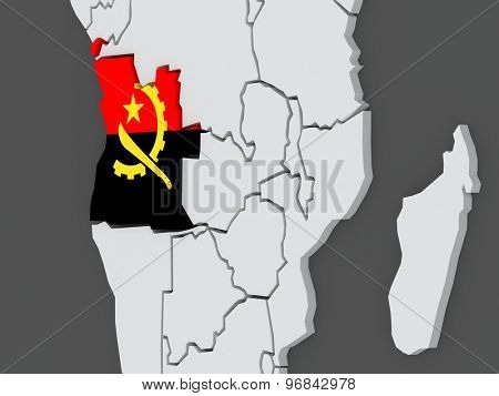 Map of worlds. Angola. 3d