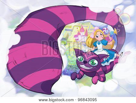 Girl On A Cat. Lovely Children Illustration