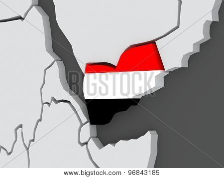 Map of worlds. Yemen. 3d