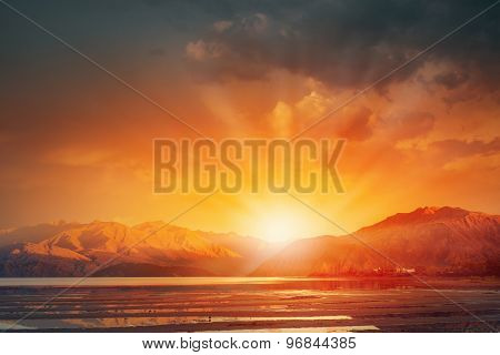 Sunrise above mountain