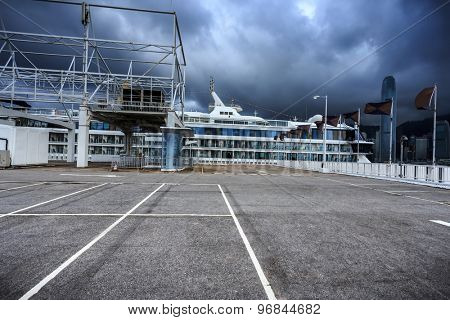 cruise ship and empty dock
