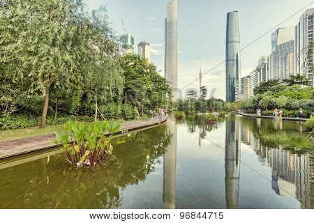 Park and skyscrapers in modern city