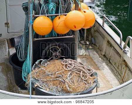 Nets And Floats On A Fishing Boat