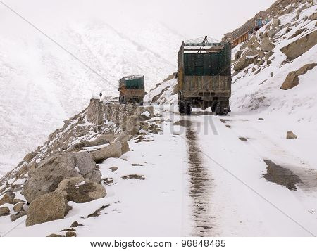 Trucks Was Running On The Road On The Mountains