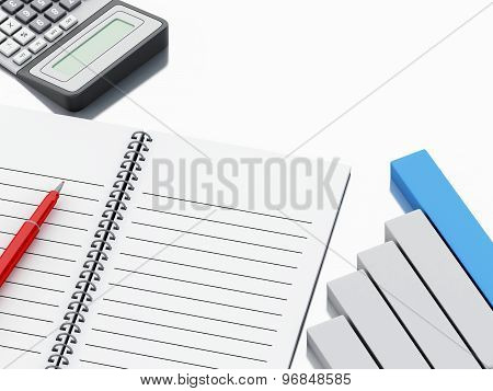 3D Notepad With Bar Graph And Office Calculator