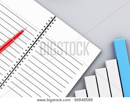 3D Notepad With Bar Graph