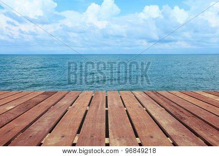 Tropical Beach With Wooden Floor