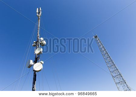 Communication Towers In The Mountain