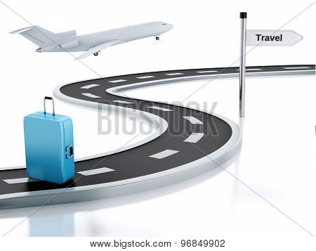 3D Illustration Of Travel Road Sign, Suitcase And Road