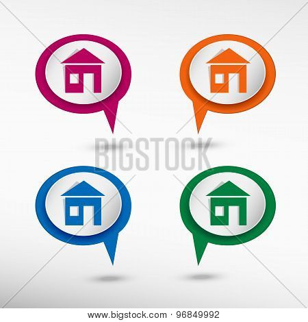 Home on colorful chat speech bubbles