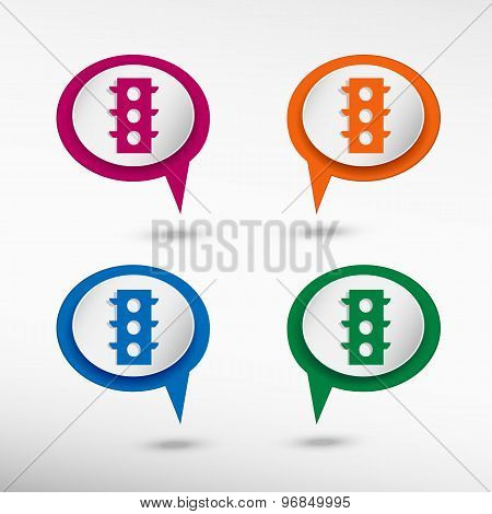 Semaphore on colorful chat speech bubbles