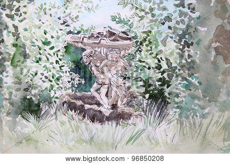 Fountain In Villa Sciarra