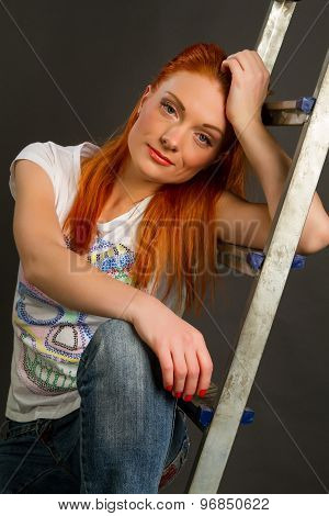 Girl Leaning On A Ladder