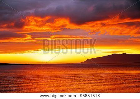 Summer sunset in Iceland