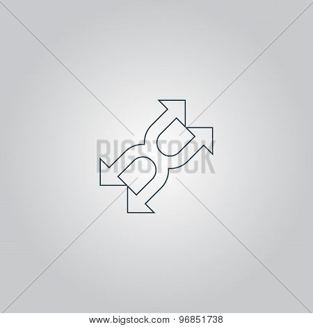 fourfold Arrow - Vector icon isolated