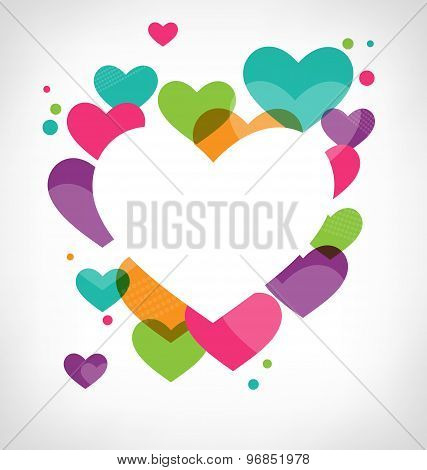 Abstract Frame With Multicolored Hearts On Grayscale
