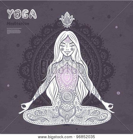 Vintage  illustration.  girl in a meditation pose