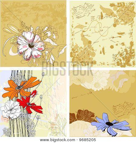 Four Grunge Floral Background