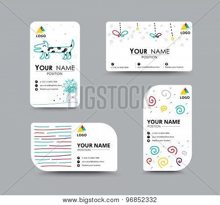 Business Card With Dooder Design Card Template. Corporate Card. Vector Illustration.