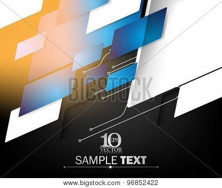 eps10 vector blue embossed overlapping motion geometric elements hi-tech corporate business background