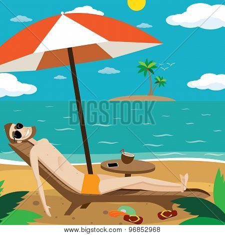 Man sunbathing on the beach