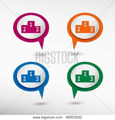 Sport podium on colorful chat speech bubbles