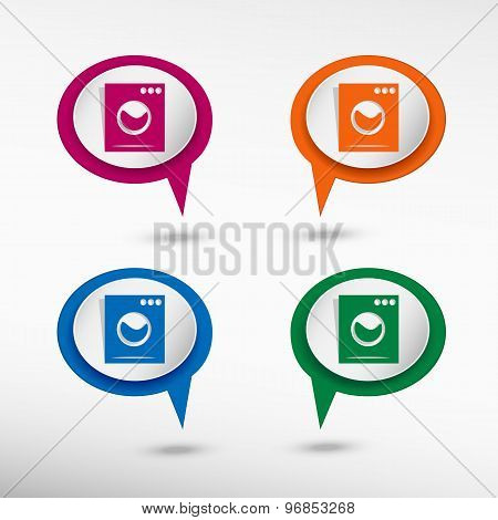 Washing machine on colorful chat speech bubbles