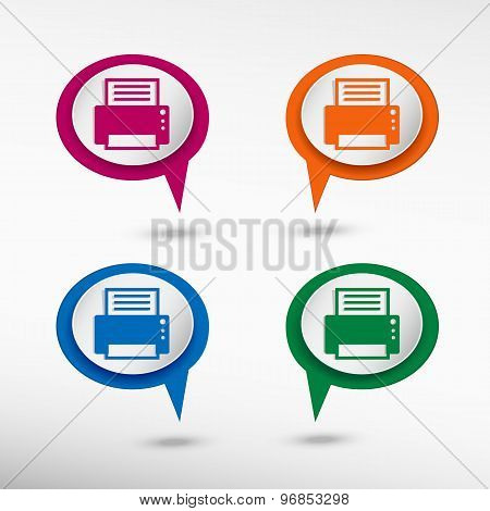 Printer on colorful chat speech bubbles