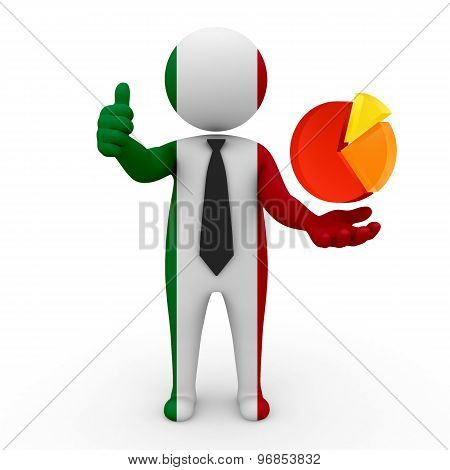 3d businessman people Italy - with the network schedule