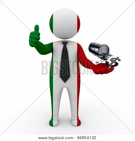3d businessman people  Italy - oil business Italy