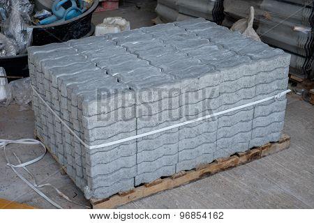 Pile of cement brick block