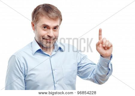 Nice adult man holding his finger up