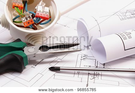 Work Tools, Electrical Box With Cables And Electrical Construction Drawing