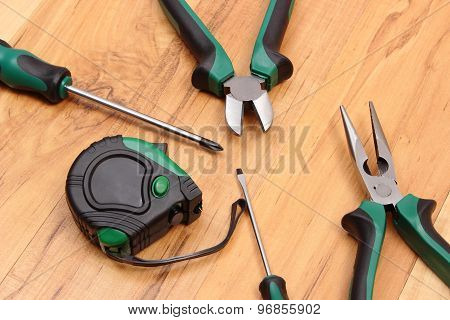 Work Tools For Engineer On Wooden Surface, Technology