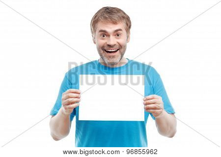 Smiling male holding paper