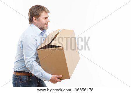 Tired man bringing box.