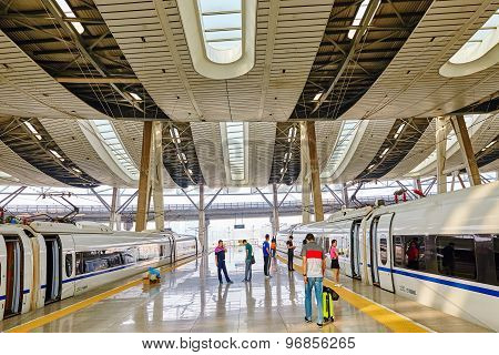 Beijing, China- May 23, 2015: High Speed Train At The Railways Station Of  Beijing. Speed Train Is