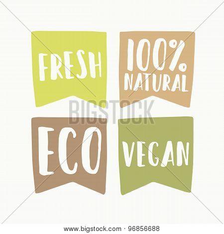 Set of vegan eco labels.