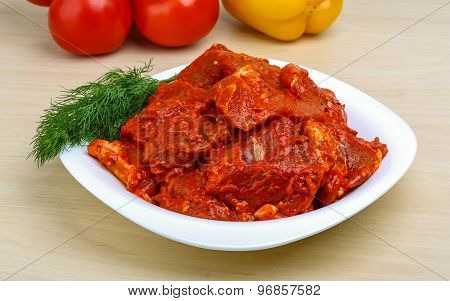 Raw Marinated Meat For Bbq