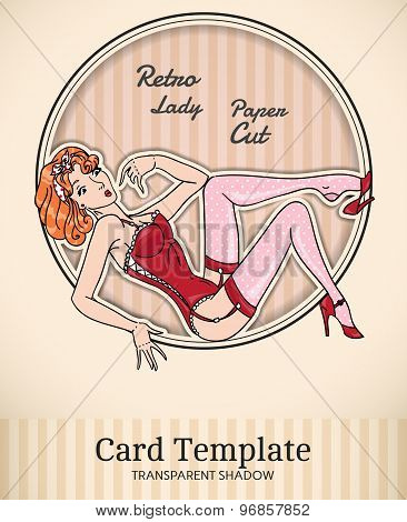 Vintage Pin-Up Woman Card