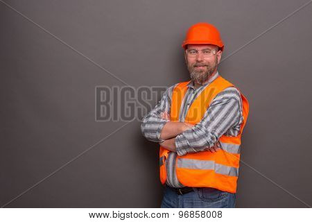 Hipster bearded builder