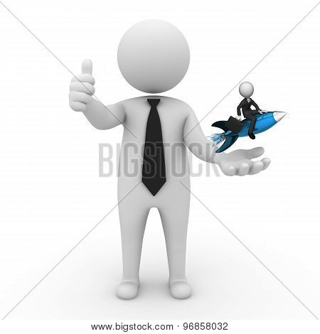3d businessman people  - with a missile in the hands and grow your business