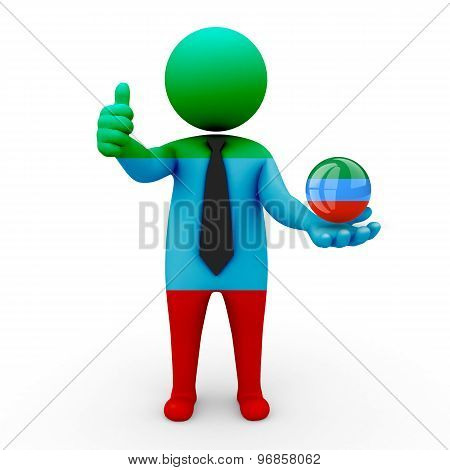 3d businessman people Dagestan - in the hands of the spherical icon of Dagestan