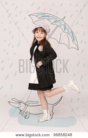 Little lady with umbrella