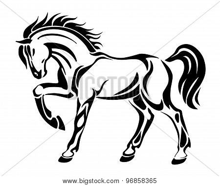 Horse tattoo - stylized graphic vector abstract image