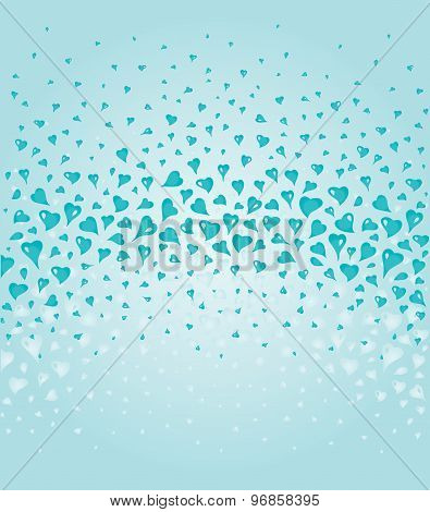 Lovely Turquoise fashionable background with hearts elements
