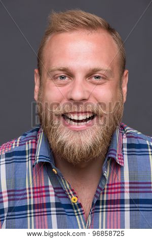 Laughing bearded man